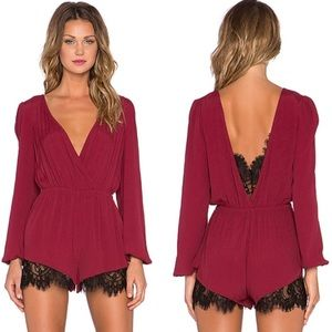 Lovers + Friends Romper with Lace NWT